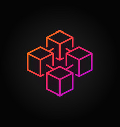 blockchain cube colorful line icon or logo vector image