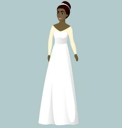 Bride in a-line wedding dress vector