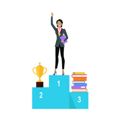 business woman on pedestal of winners vector image