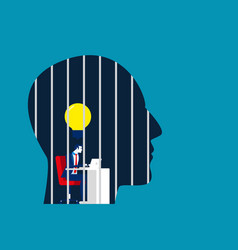 Businessman is locked in head concept vector