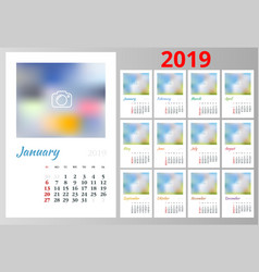 Calendar for 2019 year design print vector