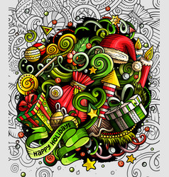 cartoon cute doodles happy new year vector image