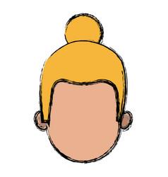 Cartoon girl faceless avatar female vector