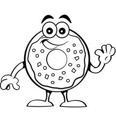 Cartoon happy donut waving vector