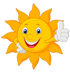 Cartoon sun giving thumbs up vector image
