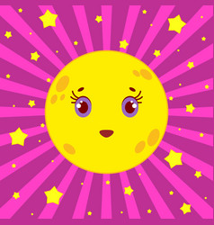 Cartoon yellow moon smiling on a pink striped vector