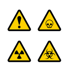 Caution triangle sign set vector