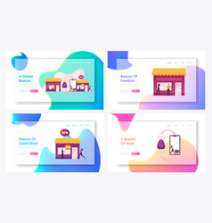 Characters using beacon technology for shopping vector