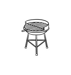 charcoal grill hand drawn sketch icon vector image