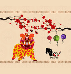 Chinese new year 2018 background lion dance vector
