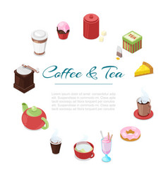 coffee and tea breakfast cartoon poster vector image