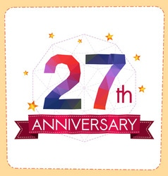 Colorful polygonal anniversary logo 2 027 vector