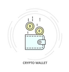 crypto wallet icon - coins drop into vector image
