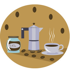 Cup of coffee and coffee maker vector