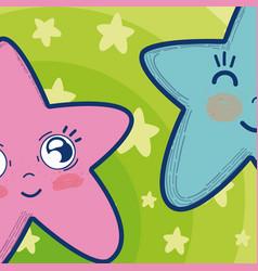cute and tender stars cartoons vector image