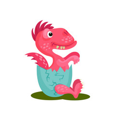 cute baby dragon in broken egg shell pink vector image