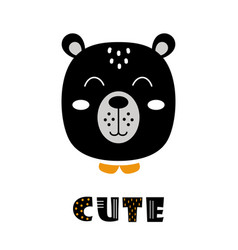 cute cartoon bear face on white scandinavian vector image