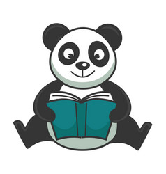 Cute panda bear sits and reads book in hardcover vector