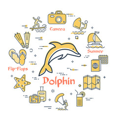 dolphin and summer time vacation icons vector image