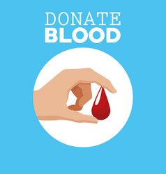 donate blood hand with drop vector image vector image