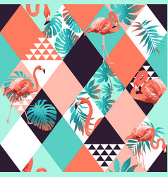 Exotic beach rhombus trendy seamless pattern vector