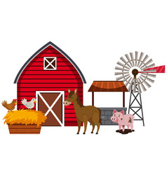 Farm animals and red barn vector