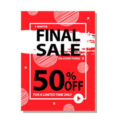 final sale 50 off for limited time only poster vector image