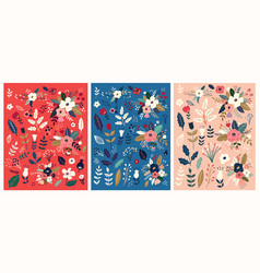 flower patterns collection vector image