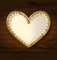 Frame cinema heart on wooden background vector