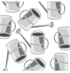Garden tools sprinkling can pattern on white vector
