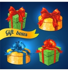 gift box set with bows and ribbons vector image