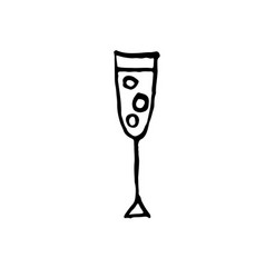 glass of champagne icon grunge brush vector image