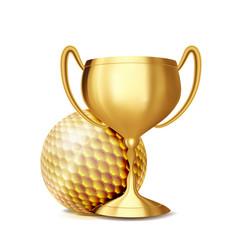 golf award golf ball golden cup sports vector image