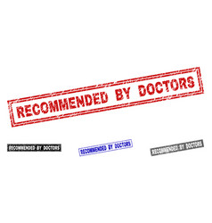 grunge recommended by doctors scratched rectangle vector image