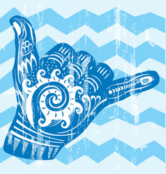 Hang loose hand signal vector