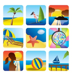 holiday and sea icons vector image