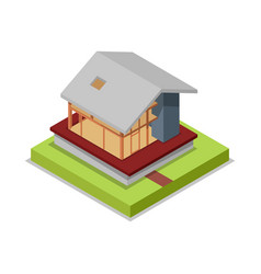 house framework isometric 3d icon vector image