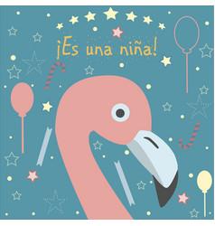 In spanish language baby girl birth announcement vector