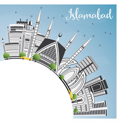 Islamabad skyline with gray buildings blue sky vector