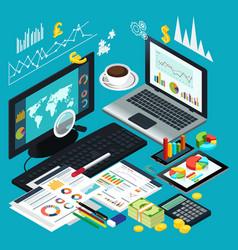 Isometric view business desktop vector