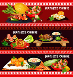 Japanese cuisine banner with asian seafood menu vector