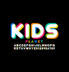 kids style colorful font vector image