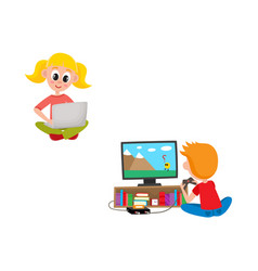 Kids with technologies set - little girl sitting vector