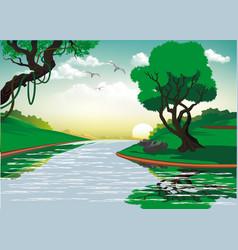 Landscape-sunrise over forest river vector