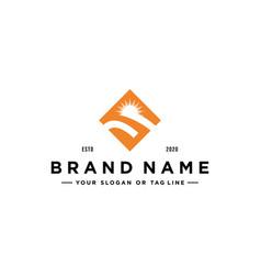 Letter s sun logo design vector