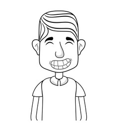 Line man with casual clothes and hairstyle vector
