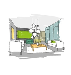 Living room design interior sketch vector