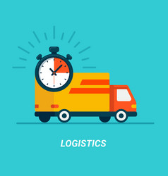 logistics concept delivery service truck flat vector image
