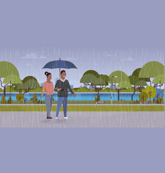 lovers couple under umbrella african american man vector image