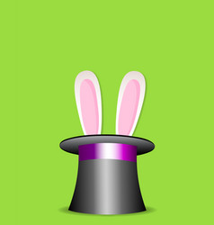 Magic trick rabbit in black cylinder hat vector
